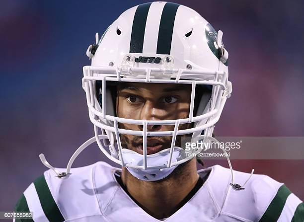 Robby Anderson of the New York Jets warms up before the start of NFL game action against the Buffalo Bills at New Era Field on September 15 2016 in...