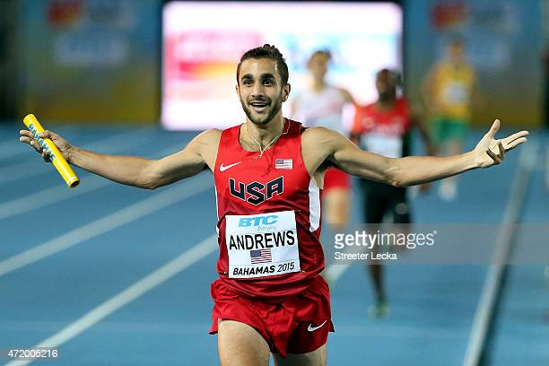 Robby Andrews of the United States celebrates after winning the final of the men's 4 x 800 metres on day one of the IAAF World Relays at Thomas...