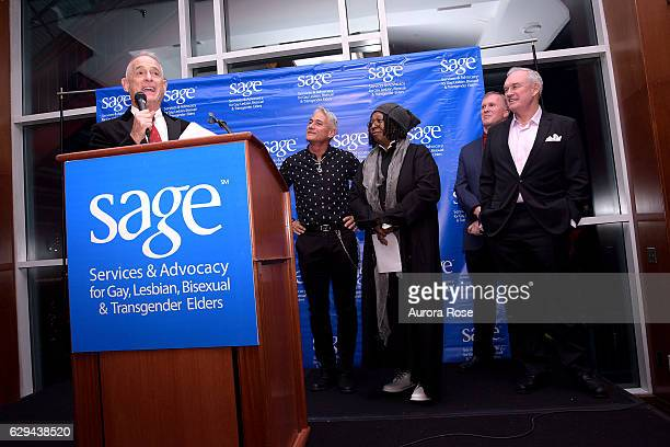 Robby Browne Greg Louganis Whoopi Goldberg Michael Adams and Alon Maron attend The 31st Annual Toys Party at Pier 60 on December 11 2016 in New York...