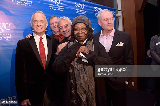 Robby Browne Michael Adams Greg Louganis Whoopi Goldberg and Alon Maron attend The 31st Annual Toys Party at Pier 60 on December 11 2016 in New York...