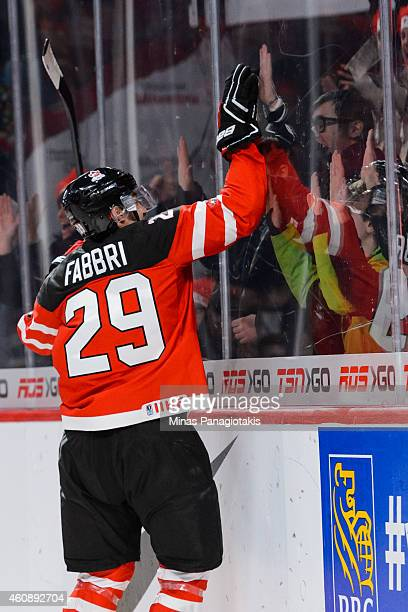Robby Fabbri of Team Canada celebrates his goal during the 2015 IIHF World Junior Hockey Championship game against Team Slovakia at the Bell Centre...