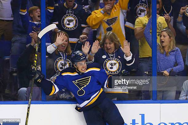 Robby Fabbri of the St Louis Blues celebrates after scoring his first career goal against the Edmonton Oilers at the Scottrade Center on October 8...