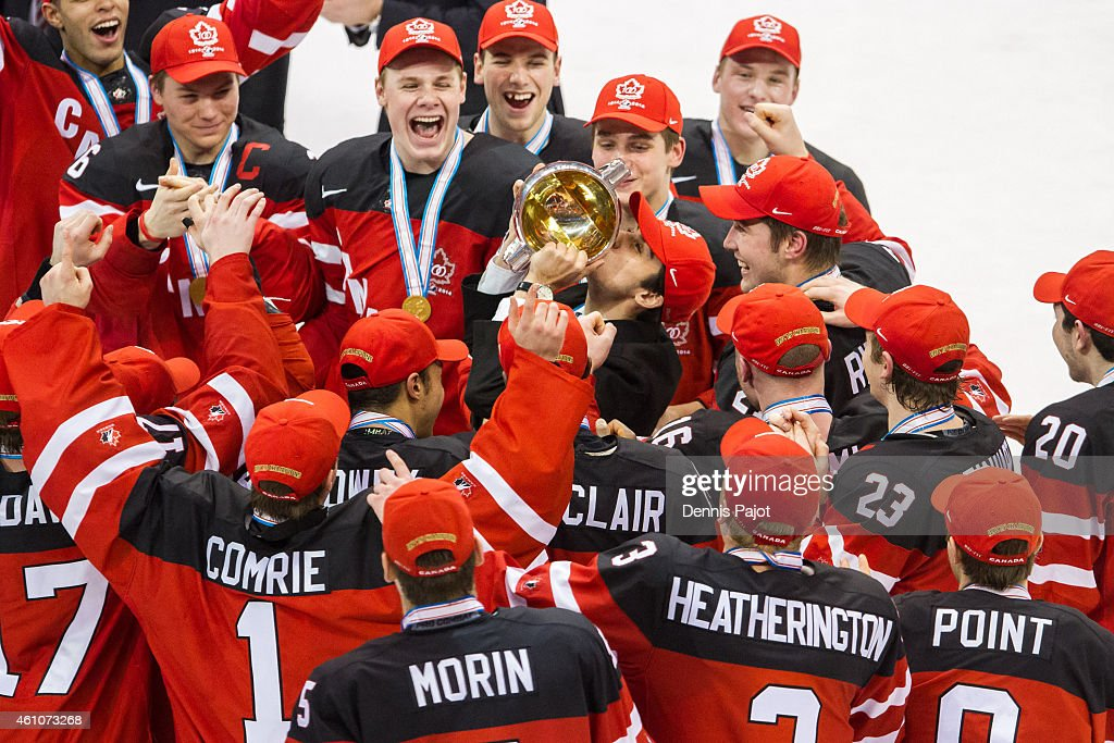 Robby Fabri #29 of Canada kisses the cup after a 5-4 win over Russia during the Gold medal game of the 2015 IIHF World Junior Championship on January 05, 2015 at the Air Canada Centre in Toronto, Ontario, Canada.