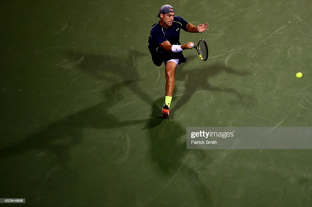 <a gi-track='captionPersonalityLinkClicked' href=/galleries/search?phrase=Robby+Ginepri&family=editorial&specificpeople=206998 ng-click='$event.stopPropagation()'>Robby Ginepri</a> of the United States returns a shot to Tomas Berdych of Czech Republic during Day 3 of the Citi Open at the William H.G. FitzGerald Tennis Center on July 30, 2014 in Washington, DC.