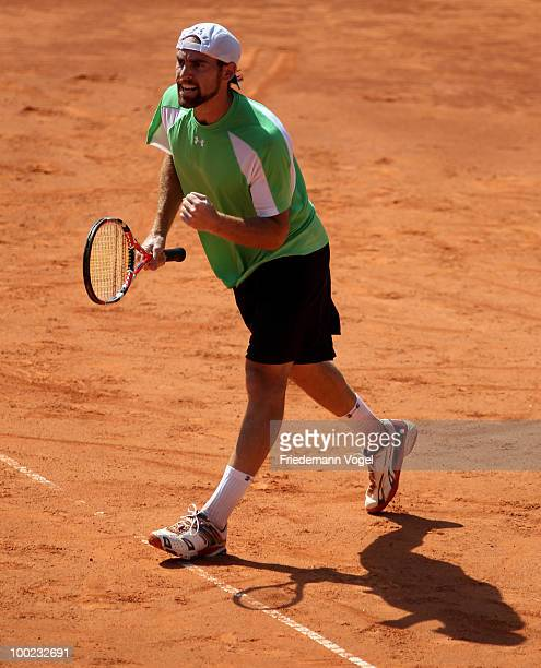 Robby Ginepri of USA reacts during his final match against Horacio Zeballos of Argentina during day seven of the ARAG World Team Cup at the...