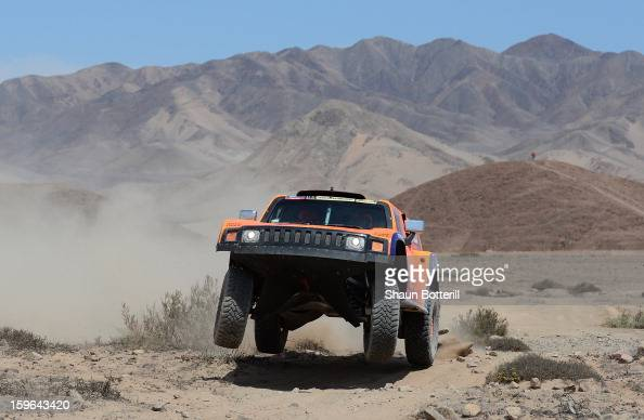 Robby Gordon and codriver Kellon Walch of team Hummer compete in stage 12 from Fiambala to Copiapo during the 2013 Dakar Rally on January 17 2013 in...