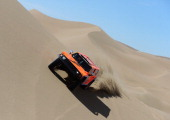 Robby Gordon and codriver Kellon Walch of team Hummer compete in stage 6 from Arica to Calama during the 2013 Dakar Rally on January 10 2013 in Arica...
