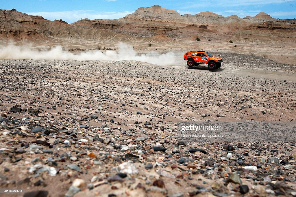 Robby Gordon and Johnny Campbell of the USA driving for Speed Energy Racing HST Hummer compete during day 3 of the Dakar Rallly on January 6 2015...