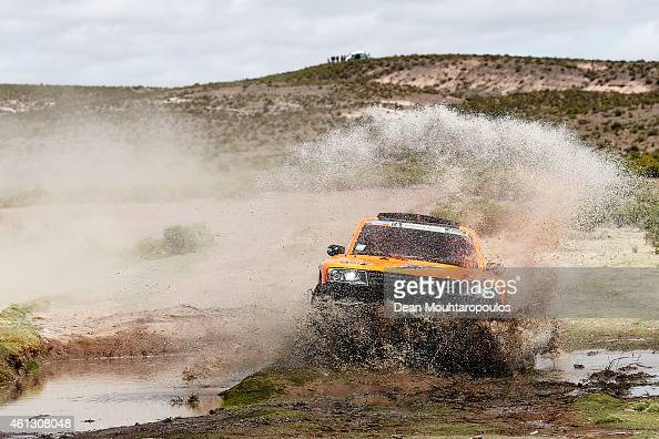 Robby Gordon and Johnny Campbell of the USA driving for Speed Energy Racing HST Hummer compete during day 7 of the Dakar Rallly between Iquique in...