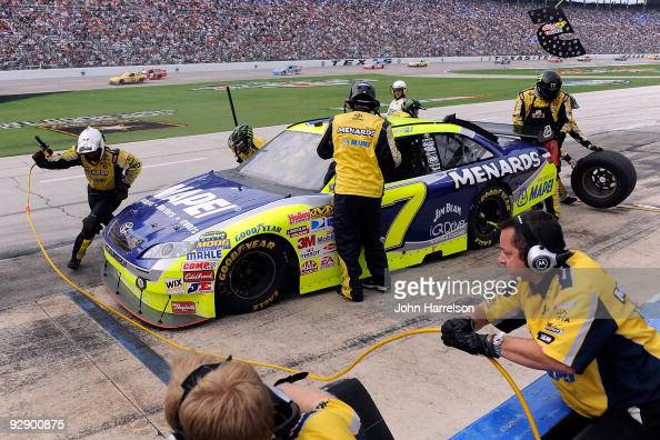 Robby Gordon driver of the MAPEI/Menards Toyota pits during the NASCAR Sprint Cup Series Dickies 500 at Texas Motor Speedway on November 8 2009 in...