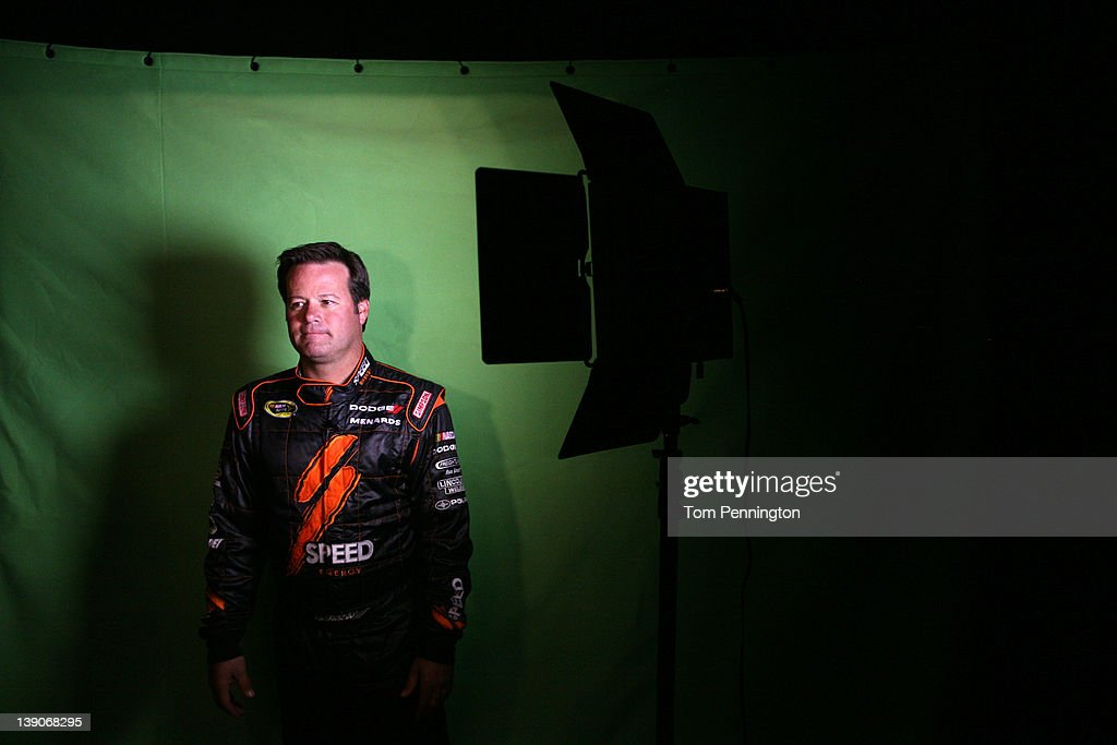 Robby Gordon driver of the Speed Energy Dodge attends NASCAR Media Day at Daytona International Speedway on February 16 2012 in Daytona Beach Florida
