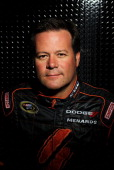 Robby Gordon driver of the Speed Energy Dodge poses during NASCAR Media Day at Daytona International Speedway on February 16 2012 in Daytona Beach...