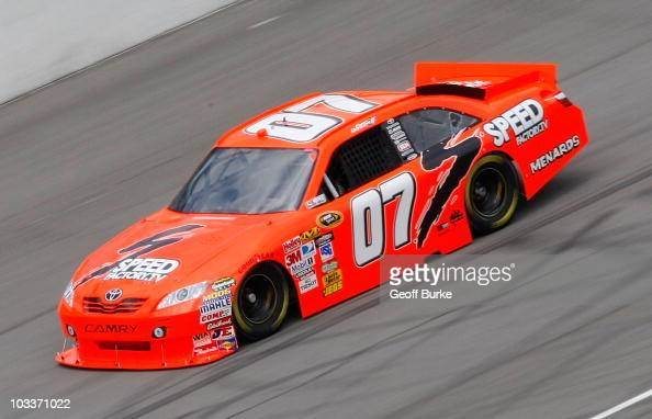 Robby Gordon driver of the SpeedFactoryTV Toyota drives on track during practice for the NASCAR Sprint Cup Series CARFAX 400 at Michigan...