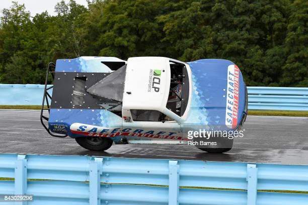 Robby Gordon entertains the fans following the SPEED Energy Stadium Super Trucks Race at Watkins Glen International on September 3 2017 in Watkins...
