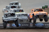 Robby Gordon leads a group of trucks in the stadium super trucks competition during the X Games Austin at Circuit of The Americas on June 8 2014 in...