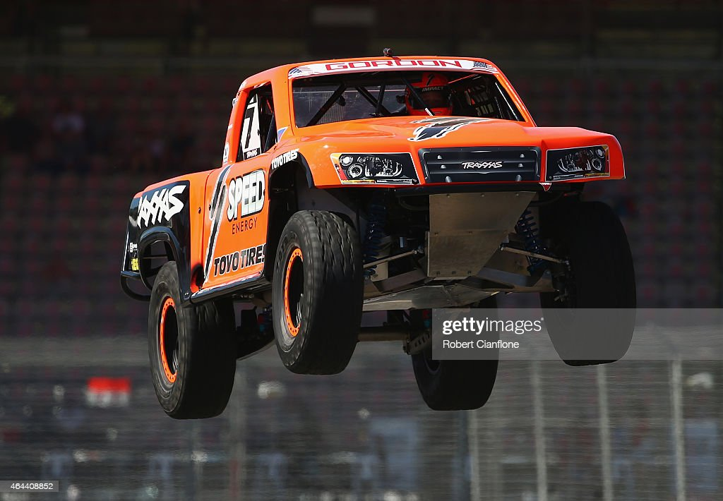 Robby Gordon of the USA competes during the Stadium Super Trucks Series ahead of the V8 Supercars Clipsal 500 at Adelaide Street Circuit on February...