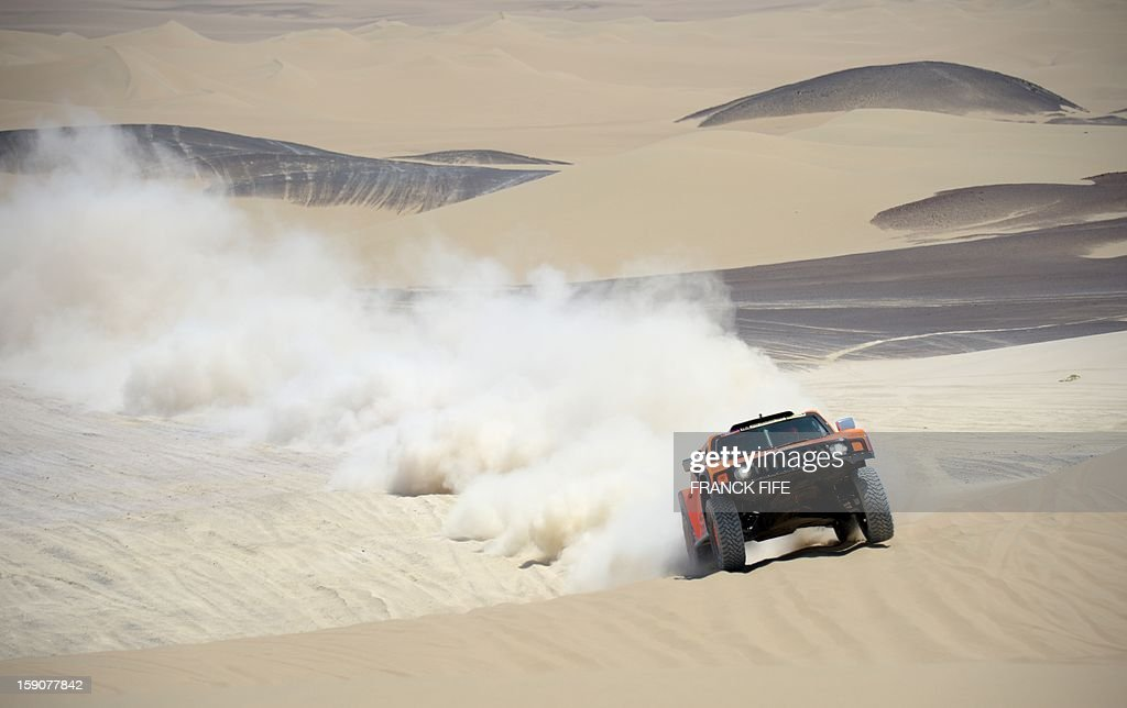 US Robby Gordon steers his Hummer during Stage 3 of the Dakar Rally 2013 between Pisco and Nazca, Peru, on January 7, 2013. The rally will take place in Peru, Argentina and Chile from January 5-20.