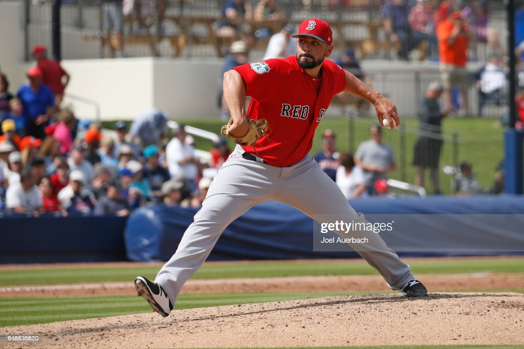 Robby Scott #63 of the Boston Red Sox throws the ball against the Houston Astros in the third inning during a spring training game at The Ballpark of the Palm Beaches on March 6, 2017 in West Palm Beach, Florida. The Astros and Red Sox played to a 5-5 tie.