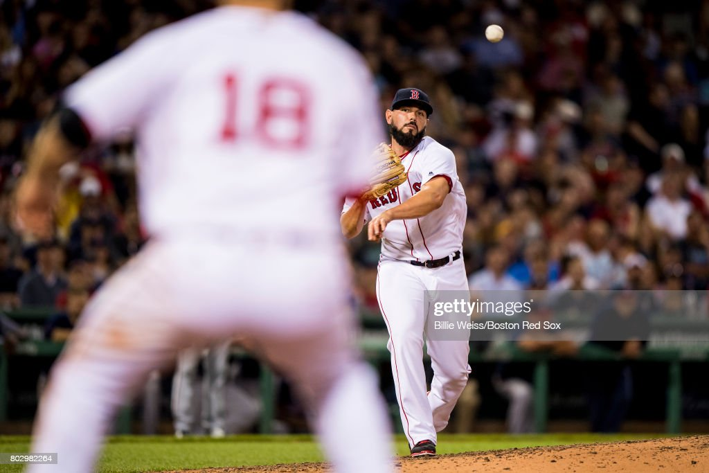 Robby Scott #63 of the Boston Red Sox throws to first base during the eighth inning of a game against the Minnesota Twins on June 28, 2017 at Fenway Park in Boston, Massachusetts.