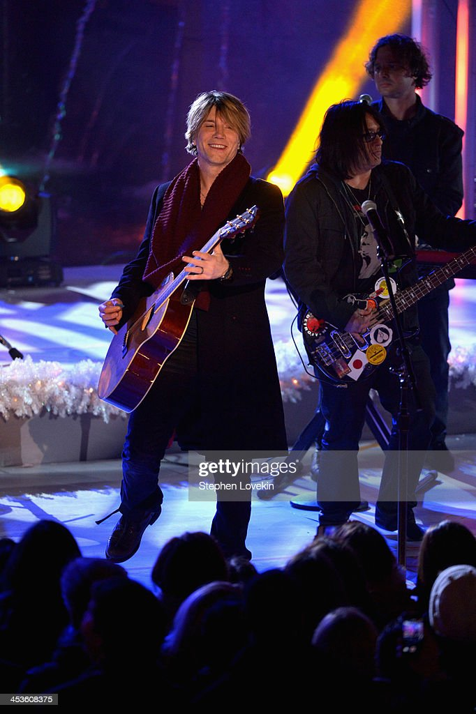 Robby Takac and John Rzeznik of the Goo Goo Dolls perform during 81st Annual Rockefeller Center Christmas Tree Lighting Ceremony at Rockefeller...