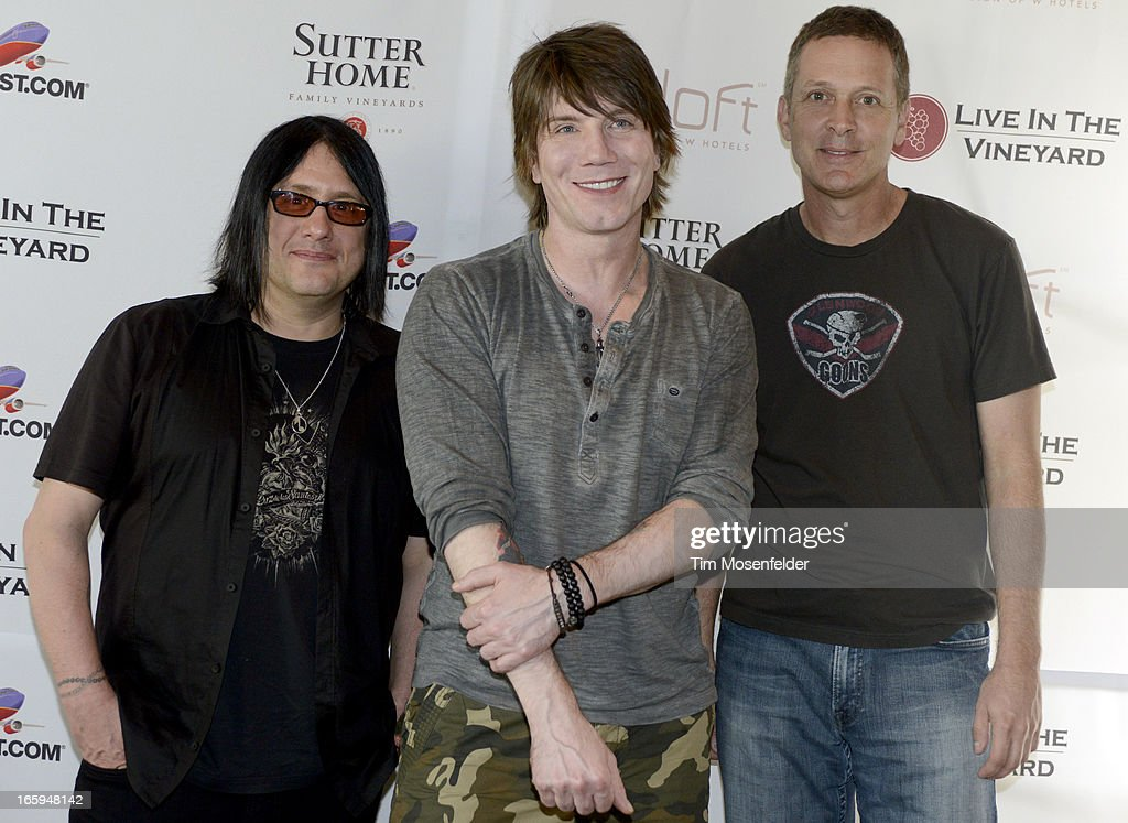 Robby Takac, John Rzeznik, and Mike Malinin of the Goo Goo Dolls pose at Trinchero Family Estate as part of Live In The Vineyard on April 6, 2013 in Napa, California.