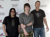 Robby Takac John Rzeznik and Mike Malinin of the Goo Goo Dolls pose at Trinchero Family Estate as part of Live In The Vineyard on April 6 2013 in...
