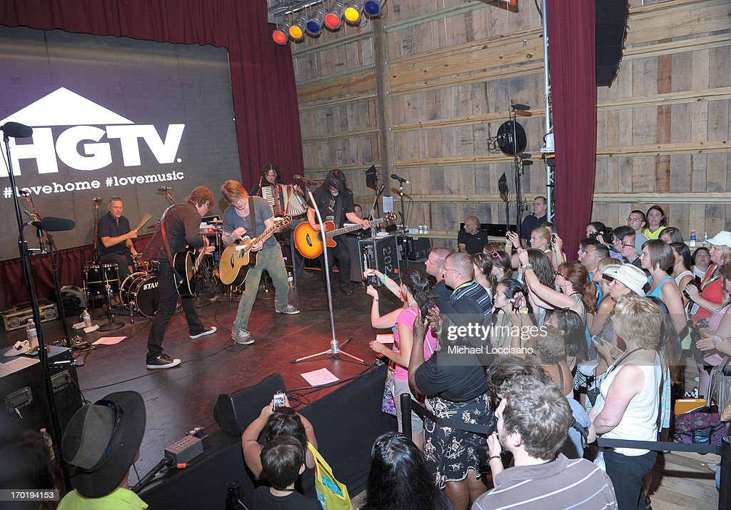 Robby Takac, Mike Malinin and John Rzenik of the Goo Goo Dolls performs at HGTV'S The Lodge At CMA Music Fest - Day 3 on June 8, 2013 in Nashville, Tennessee.
