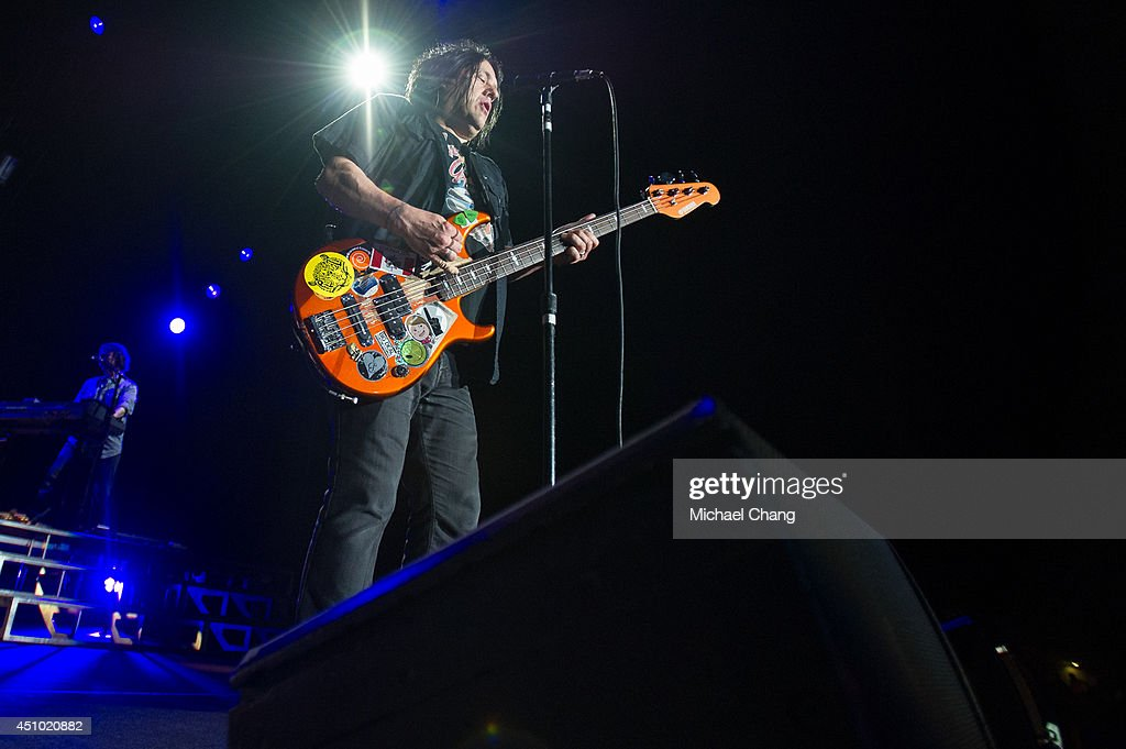 Robby Takac of the Goo Goo Dolls perform in concert at The Amphitheater at the Wharf on June 21, 2014 in Orange Beach, Alabama.
