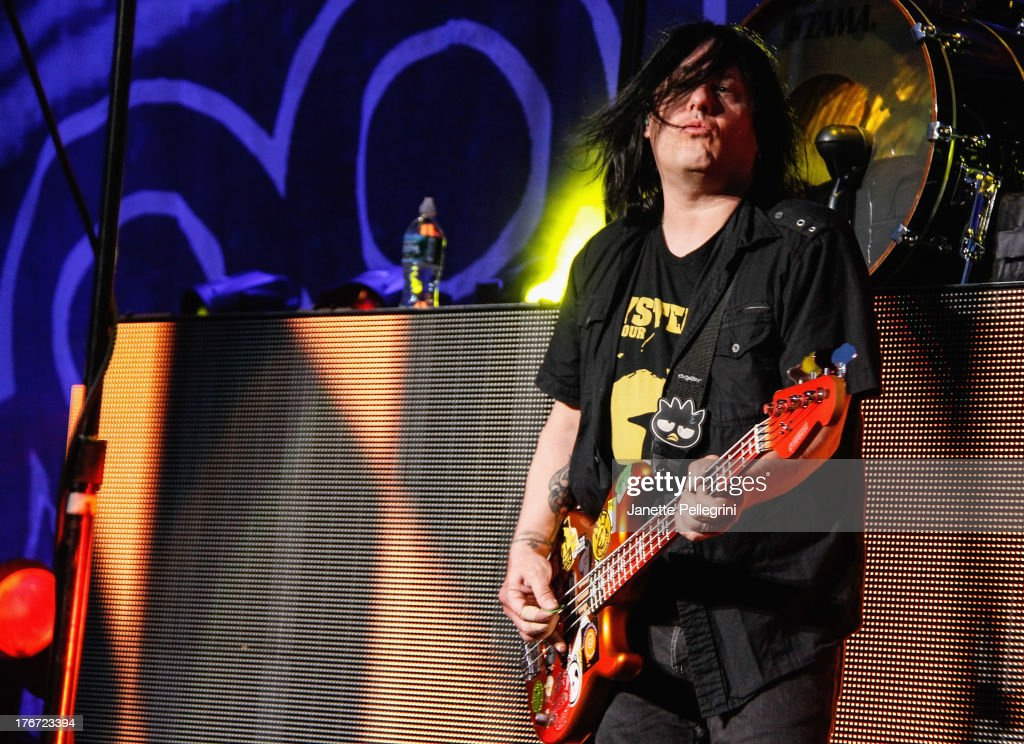 Robby Takac of the Goo Goo Dolls performs at Nikon at Jones Beach Theater on August 17, 2013 in Wantagh, New York.