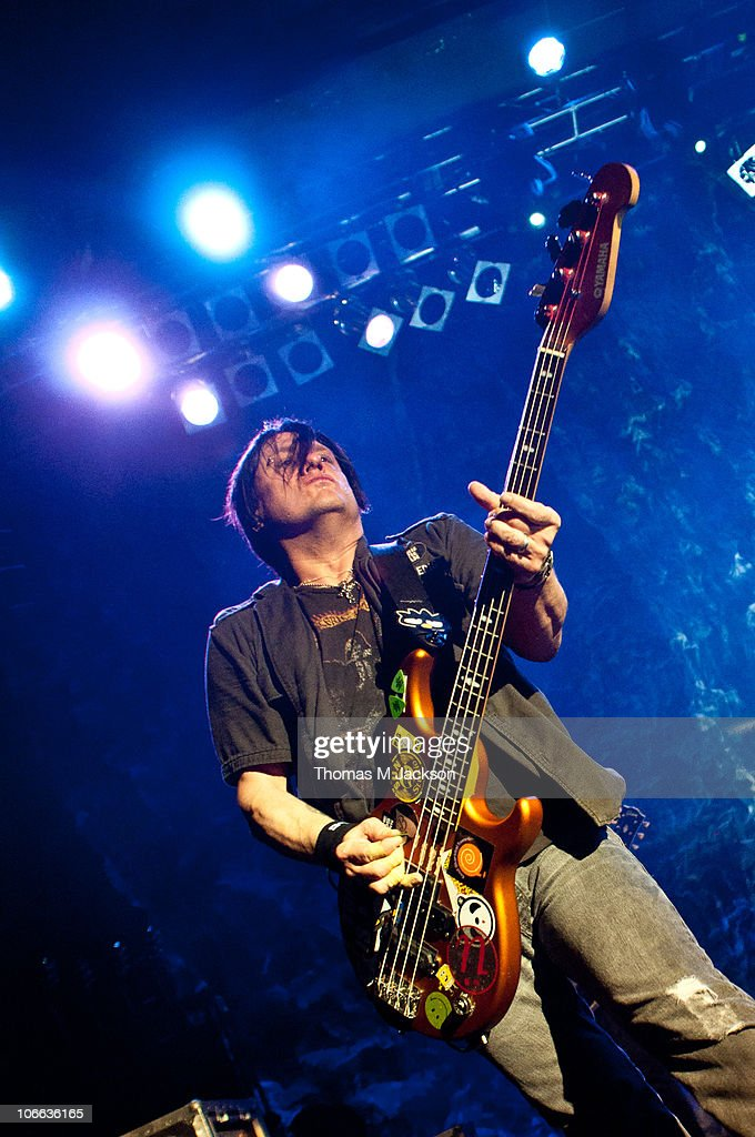 <a gi-track='captionPersonalityLinkClicked' href=/galleries/search?phrase=Robby+Takac&family=editorial&specificpeople=778886 ng-click='$event.stopPropagation()'>Robby Takac</a> of the Goo Goo Dolls performs on stage at O2 Academy on November 8, 2010 in Newcastle upon Tyne, England.