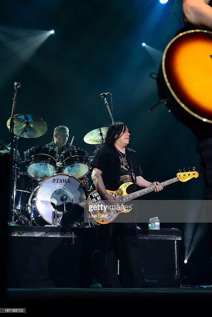 Robby Takac of The Goo-Goo Dolls performs live on stage at the Sands Bethlehem Event Center on April 21, 2013 in Bethlehem, Pennsylvania.