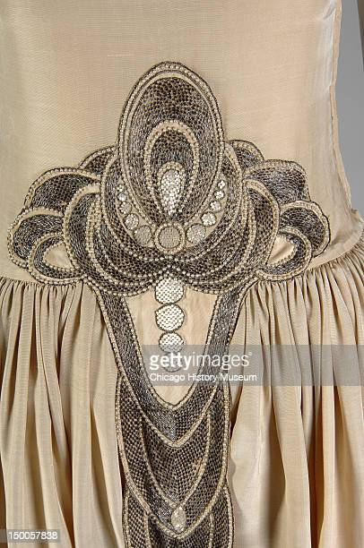 Robe de Style 1927 Silk moire glass beads pearls metallic thread by Jeanne Lanvin worn by Mrs Charles S Dewey when presented at the Court of St James...