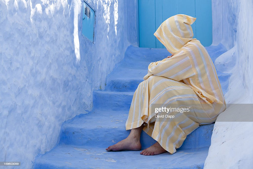 Robed man, Chefchauen, Morocco, North Africa : Stock Photo