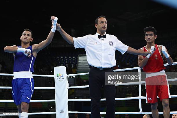 Robeisy Ramirez of Cuba celebrates over Shiva Thapa of India in their Mens Bantamweight bout on Day 6 of the 2016 Rio Olympics at Riocentro Pavilion...