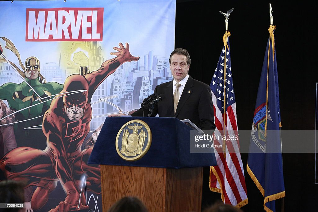 NEW YORK, 2/26/14 - Robert A. Iger (President and CEO of The Walt Disney Company) along with Governor Andrew Cuomo of New York and Joe Quesada (Chief Creative Officer, Marvel Entertainment) announced a multimillion-dollar incentive television deal to film Marvel's 'The Defenders' series for Netflix entirely in New York. The original series of live-action adventures featuring the heroes of Hell's Kitchen, will start production in the summer of 2014. CUOMO