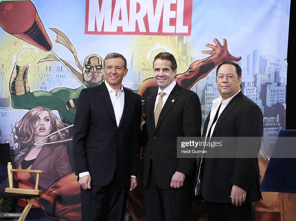NEW YORK, 2/26/14 - Robert A. Iger (President and CEO of The Walt Disney Company) along with Governor Andrew Cuomo of New York and Joe Quesada (Chief Creative Officer, Marvel Entertainment) announced a multimillion-dollar incentive television deal to film Marvel's 'The Defenders' series for Netflix entirely in New York. The original series of live-action adventures featuring the heroes of Hell's Kitchen, will start production in the summer of 2014. QUESADA