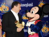 Robert A Iger with Mickey Mouse during Disneyland 50th Anniversary 'Happiest Homecoming on Earth' Celebration Arrivals and Fireworks at Disneyland in...