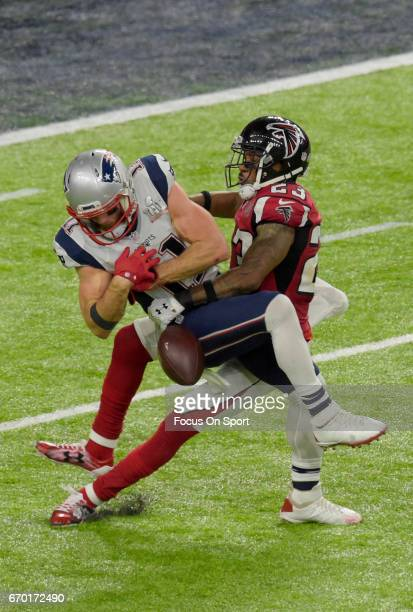 Robert Alford of the Atlanta Falcons breaks up this pass to Julian Edelman of the New England Patriots during Super Bowl 51 at NRG Stadium on...