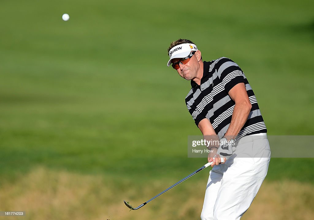Robert Allenby of Australia hits out of the bunker on the 12th hole during the second round of the Northern Trust Open at the Riviera Country Club on February 15, 2013 in Pacific Palisades, California.