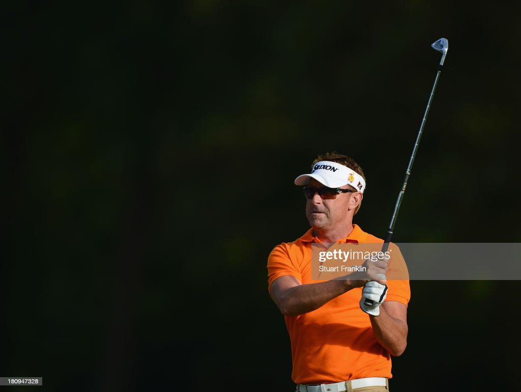 <a gi-track='captionPersonalityLinkClicked' href=/galleries/search?phrase=Robert+Allenby&family=editorial&specificpeople=178193 ng-click='$event.stopPropagation()'>Robert Allenby</a> of Australia plays a shot during the pro-am prior to the start of the Italian Open golf at Circolo Golf Torino on September 18, 2013 in Turin, Italy.