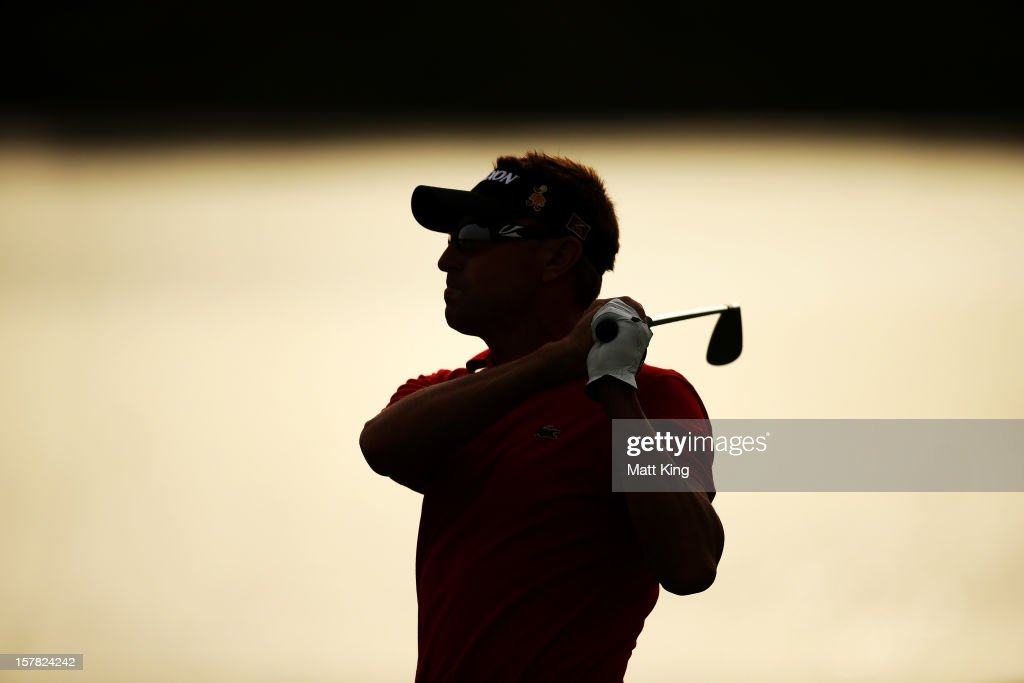 Robert Allenby of Australia plays a shot on the fairway during round two of the 2012 Australian Open at The Lakes Golf Club on December 7, 2012 in Sydney, Australia.