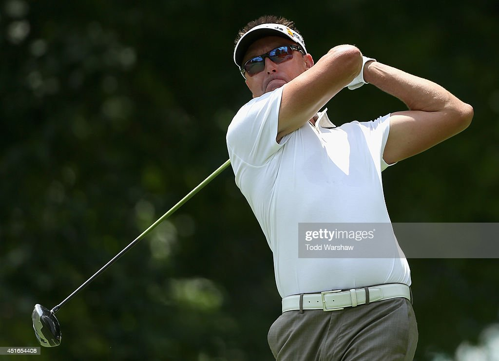<a gi-track='captionPersonalityLinkClicked' href=/galleries/search?phrase=Robert+Allenby&family=editorial&specificpeople=178193 ng-click='$event.stopPropagation()'>Robert Allenby</a> of Australia tees off on the second hole during the first round of the Greenbrier Classic at the Old White TPC on July 3, 2014 in White Sulphur Springs, West Virginia.