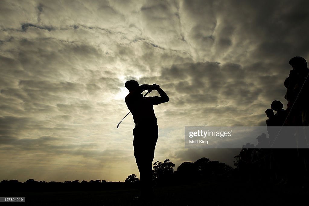 <a gi-track='captionPersonalityLinkClicked' href=/galleries/search?phrase=Robert+Allenby&family=editorial&specificpeople=178193 ng-click='$event.stopPropagation()'>Robert Allenby</a> plays a shot on the fairway during round two of the 2012 Australian Open at The Lakes Golf Club on December 7, 2012 in Sydney, Australia.