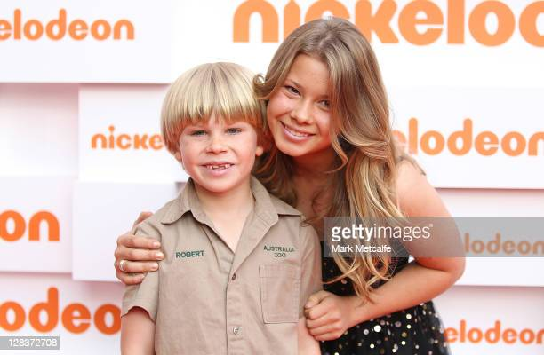 Robert and Bindi Irwin arrive at the 2011 Nickelodeon Kid's Choice Awards at the Sydney Entertainment Centre on October 7 2011 in Sydney Australia