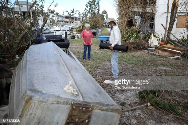 Robert and Nancy Heater look at the aluminum boat September 14 2017 on Big Pine Key Florida The boat which was given to Heater by his father in 1955...