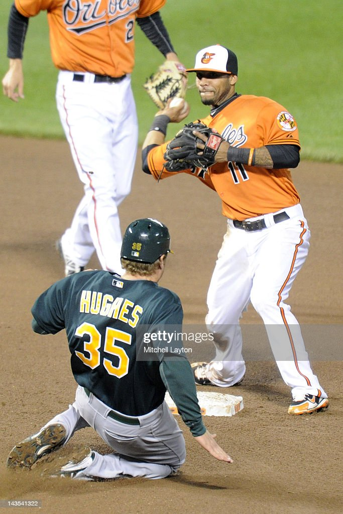 Robert Andino #11 of the Baltimore Orioles forces out Luke Hughes #35 of the Oakland Athletics during the seventh inning of a baseball game against the Oakland Athletics at Oriole Park at Camden Yards on April 28, 2012 in Baltimore, Maryland.