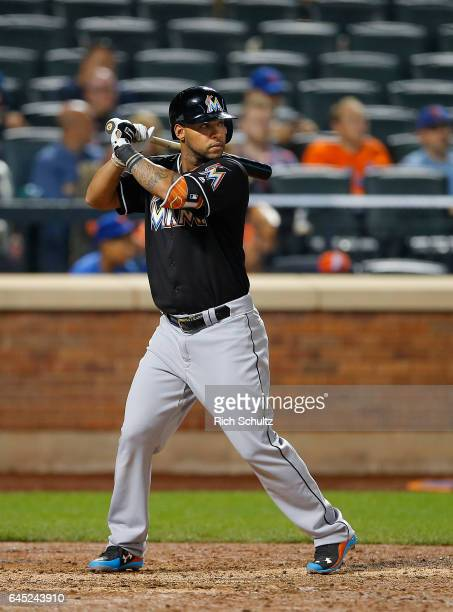 Robert Andino of the Miami Marlins in action during a game against the New York Mets at Citi Field on September 1 2016 in the Flushing neighborhood...