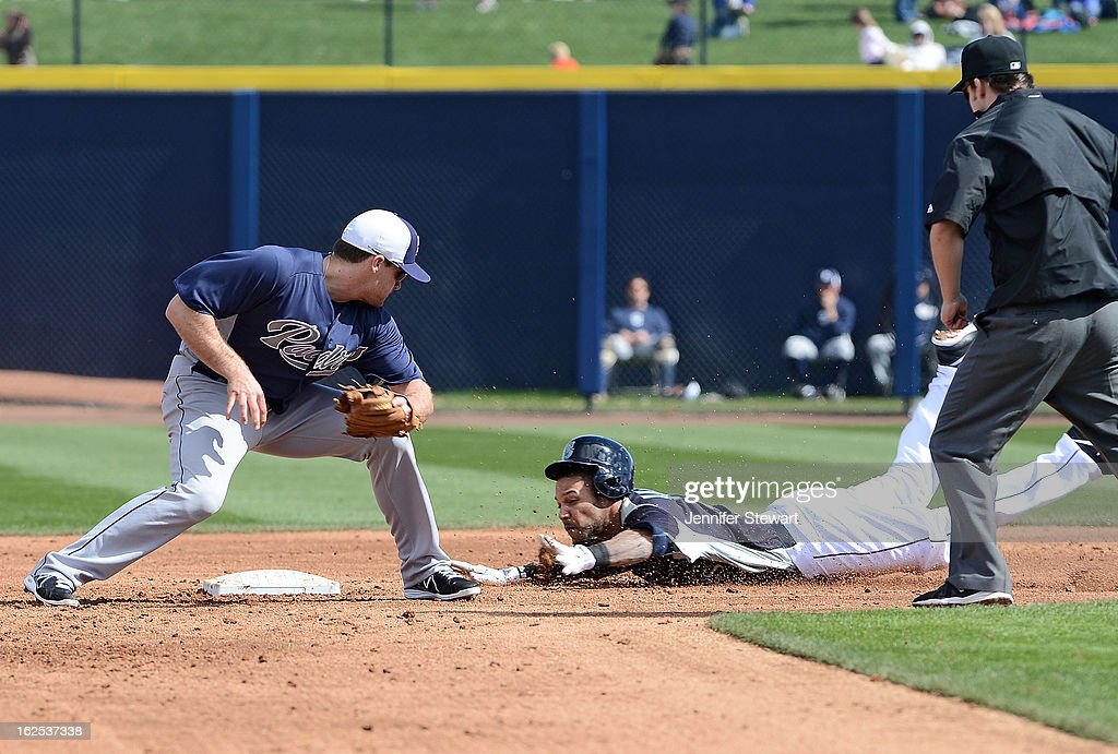 <a gi-track='captionPersonalityLinkClicked' href=/galleries/search?phrase=Robert+Andino&family=editorial&specificpeople=628104 ng-click='$event.stopPropagation()'>Robert Andino</a> #3 of the Seattle Mariners safely slides into second base past the tag from infielder <a gi-track='captionPersonalityLinkClicked' href=/galleries/search?phrase=Logan+Forsythe&family=editorial&specificpeople=4412508 ng-click='$event.stopPropagation()'>Logan Forsythe</a> #11 of the San Diego Padres spring training game at Peoria Sports Complex on February 24, 2013 in Peoria, Arizona.