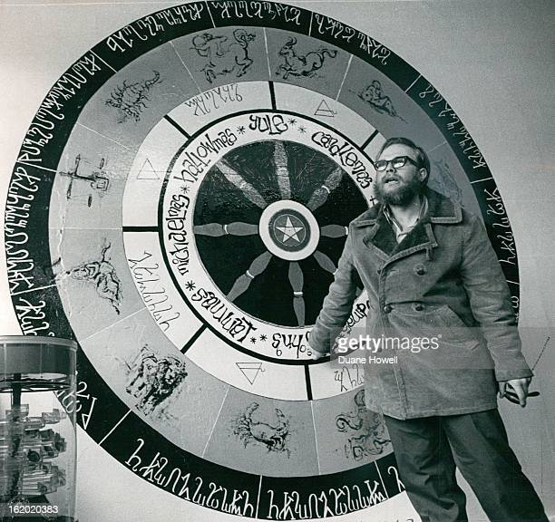 APR 14 1972 APR 17 1972 APR 19 1972 Robert Artison Explains Witches Wheel Painted on Wall on Denver Shop Letters on outside are of ancient witches...