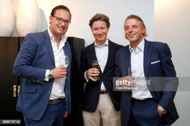 Robert Aschpurwis Felix Brinkama and John Jahr Jr attend the Bell Ross Cocktail Party at Elbphilharmonie show apartment on June 14 2017 in Hamburg...